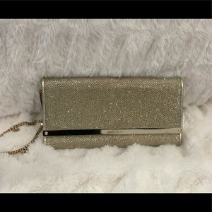 Jimmy Choo Gold Evening Clutch with Chain